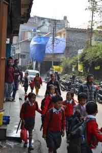 School-children on the way home in Kalimpong
