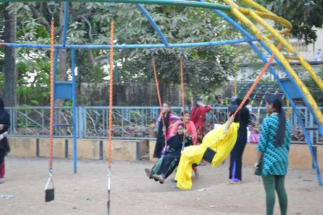 Girls on the swings